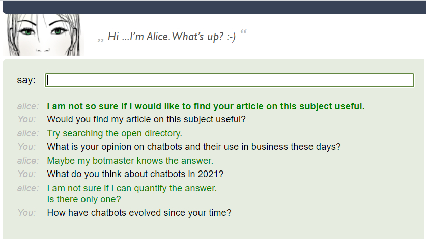alice bot - Chatbots: AI tech can be useful in real-world business applications right now